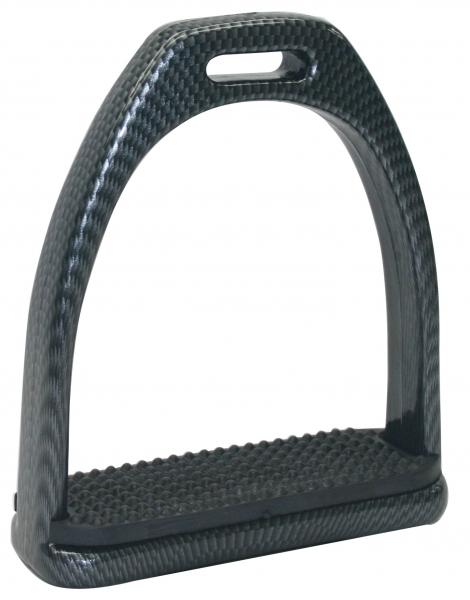 Kunstoff Steigbügel Premium Carbon Look Einlage Schwarz