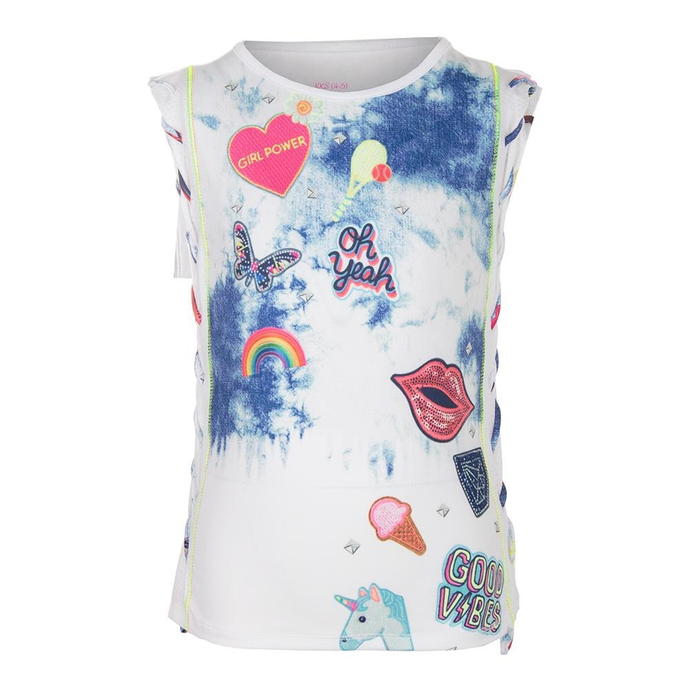 Lucky in Love Tennis Muscle Tank in Rebel Bianco Bambina