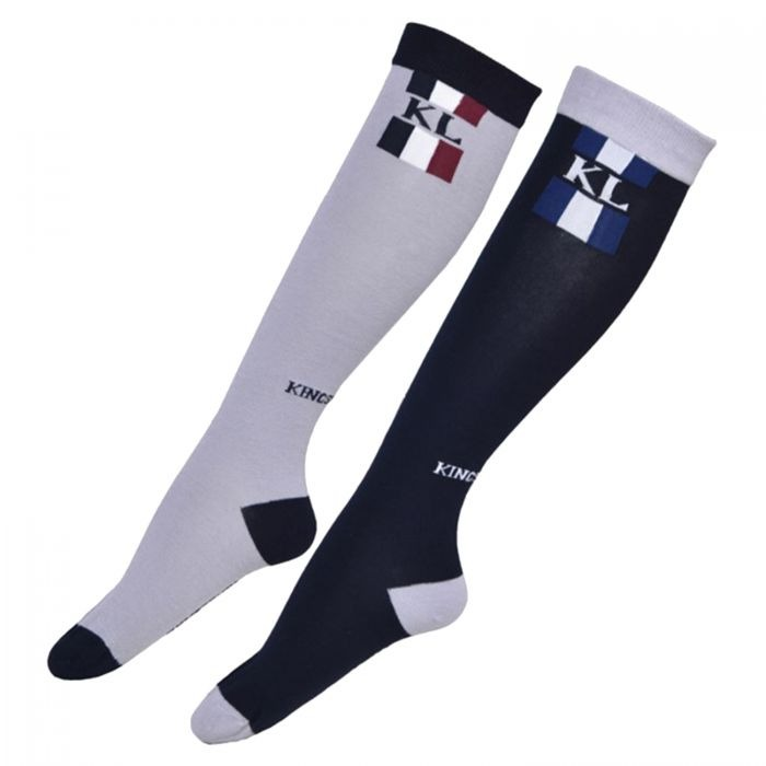 Kingsland Charleton Uni Coolmax Socks grigio/navy  logo & stripes 1