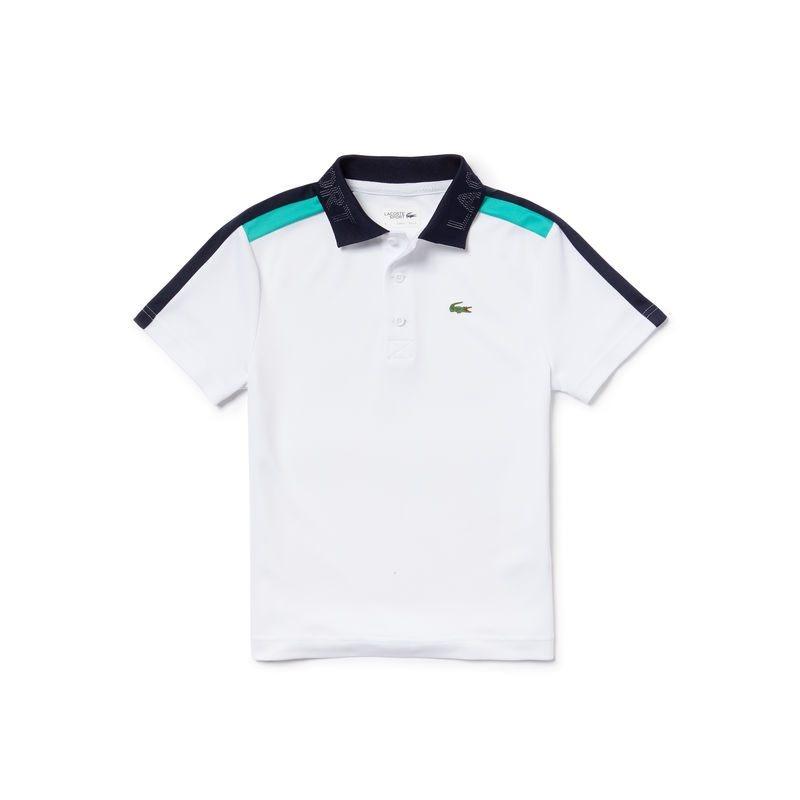 Lacoste Polo Bianco-Verde-Navy Bambino