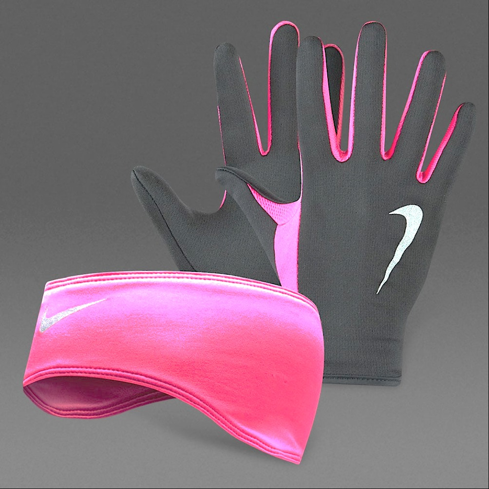 Nike Set Guanti-Bandana Nero-Viola donna