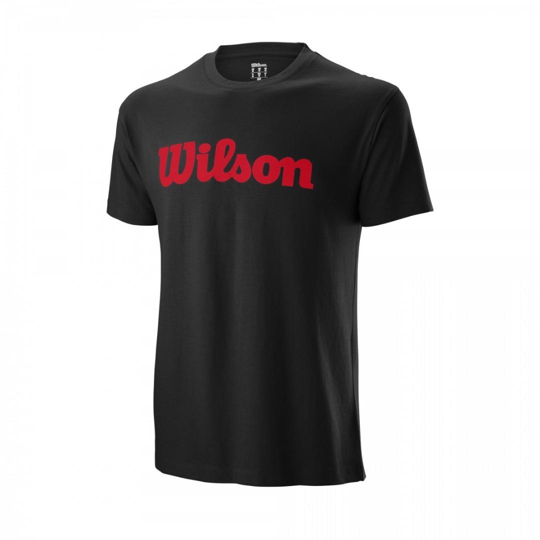 Wilson Script Cotton Tee Black Red Uomo