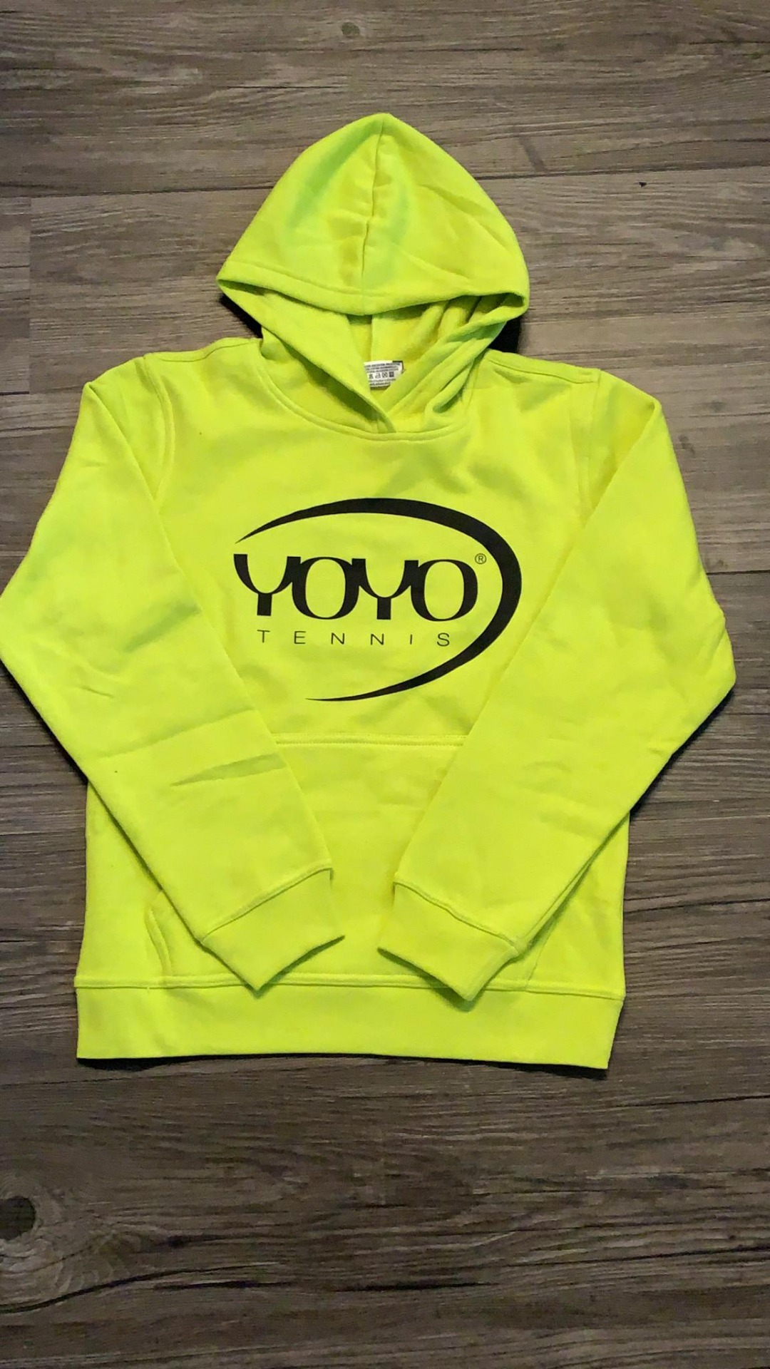 YOYO-TENNIS Hoody Lime Logo Nero Bambino
