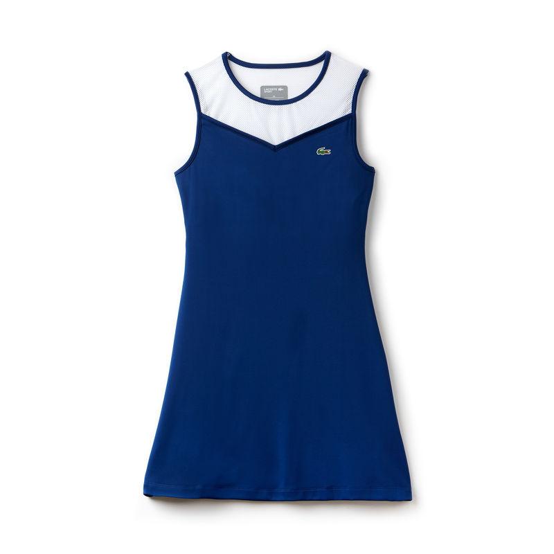 Lacoste Vestito Bianco-Blu Donna