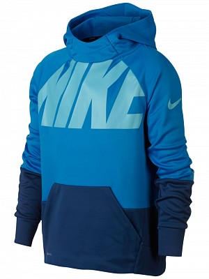 Nike Winter Therma Graphic Hoodie Blue Bambino 1