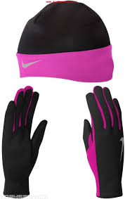 Nike Set Guanti-Cappellino Nero-Pink Donna