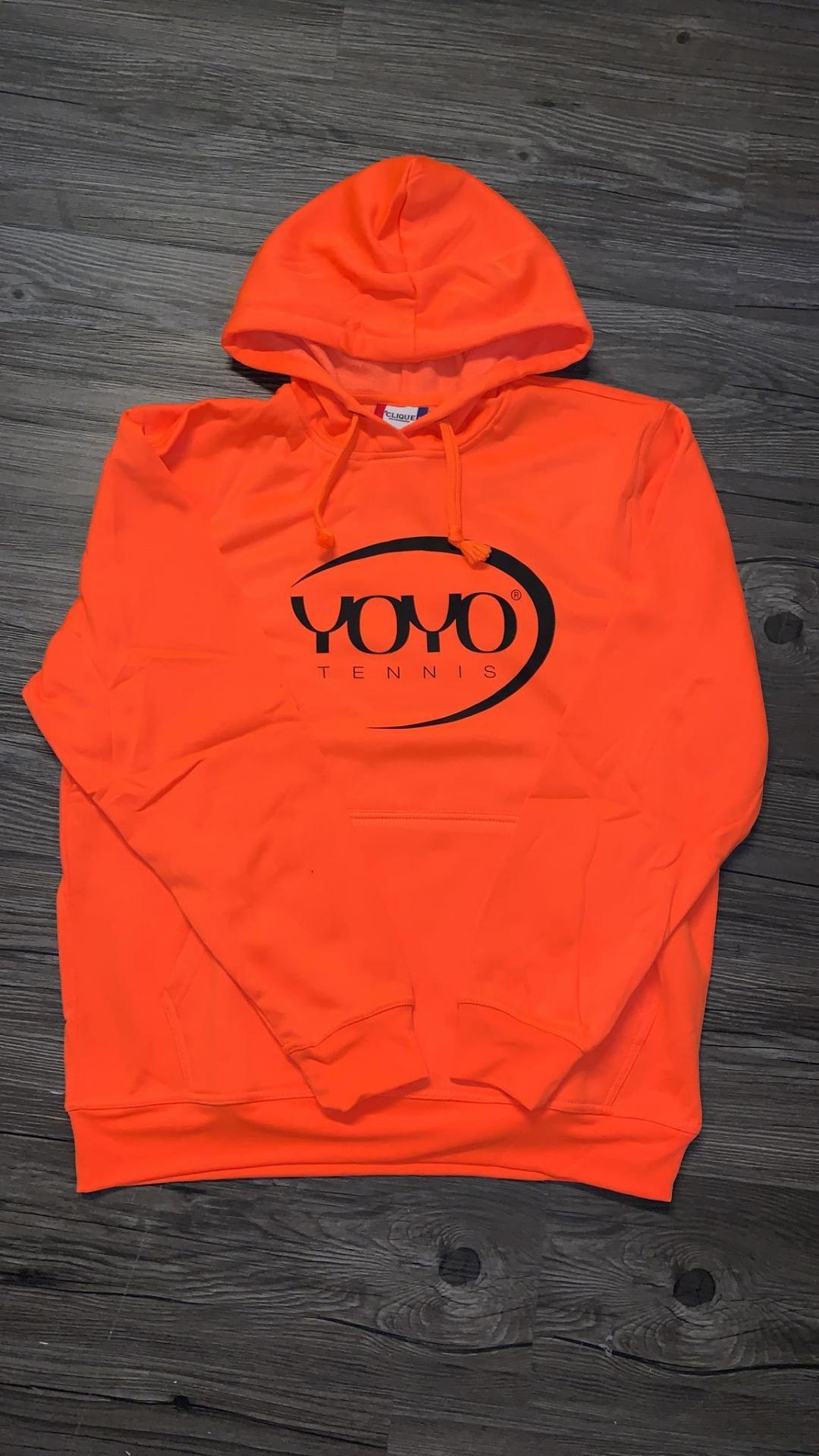 YOYO-TENNIS Hoody Arancione Fluo con Logo Nero 1