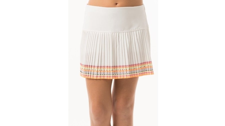 Lucky In Love Border Pleated Skirt Bianco Donna