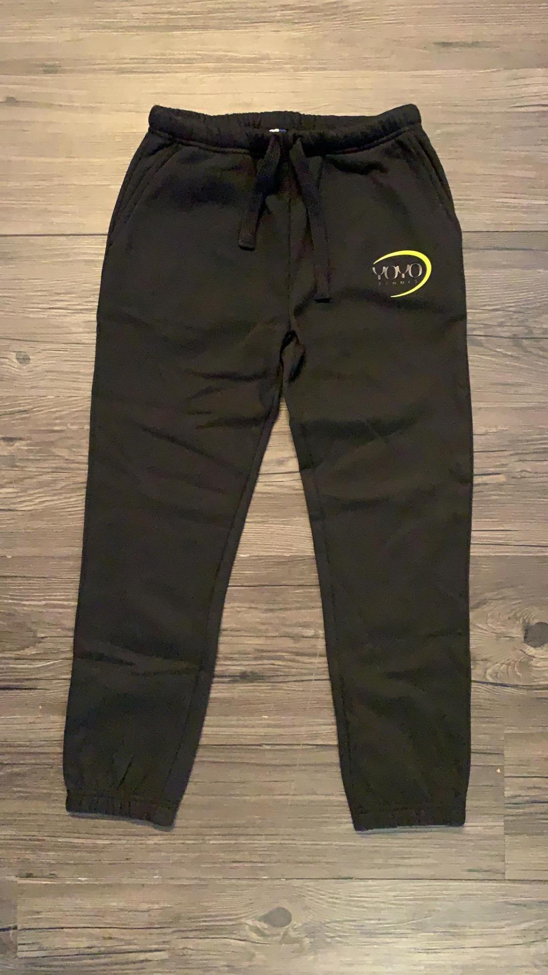 YOYO-TENNIS Pant Nero con Logo Giallo Bambino