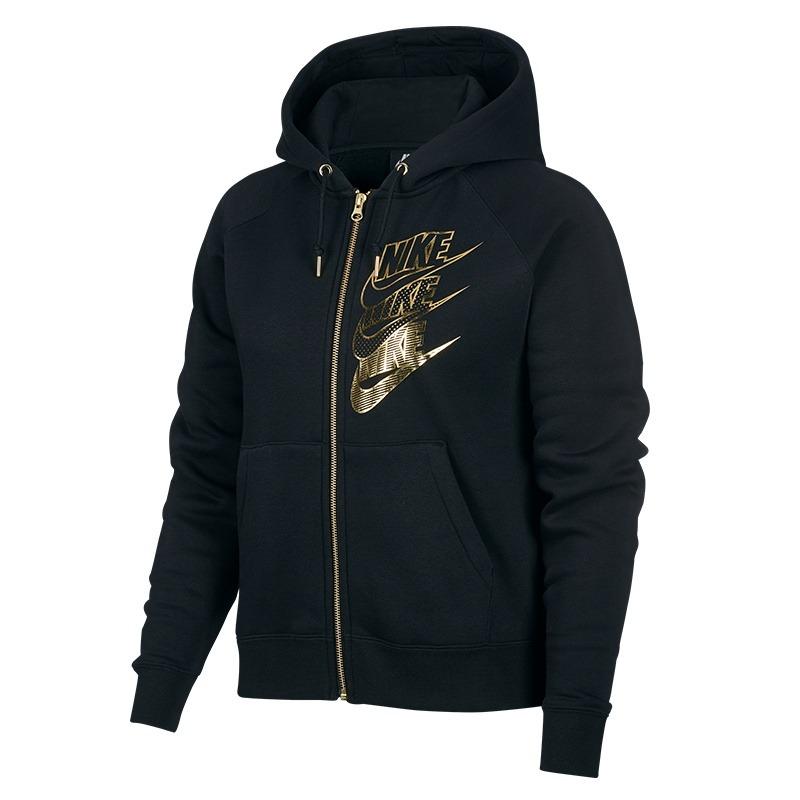 Nike Hoodie Shine Black-Gold Donna 1
