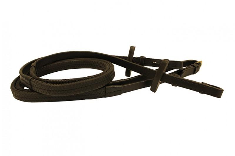 Gummizügel Braun mit vernickelten beschhlägen
