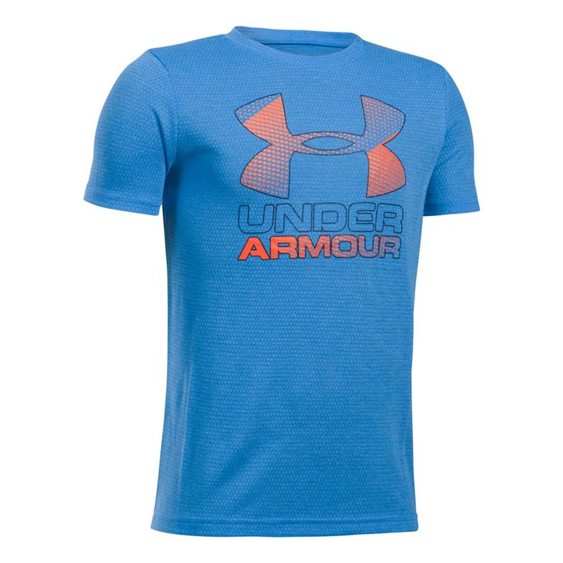 Under Armour T-Shirt Tech Big Logo Hybrid Crew Blue Bambino
