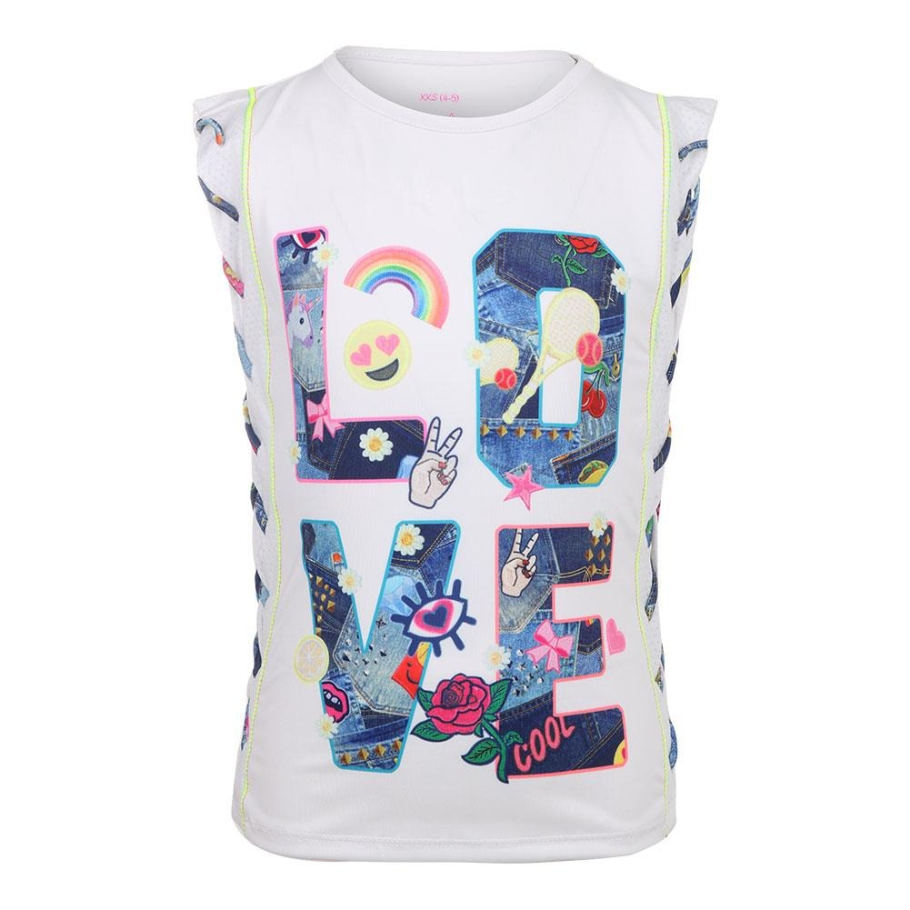 Lucky in Love Muscle Tennis Tank love Bianco Bambina