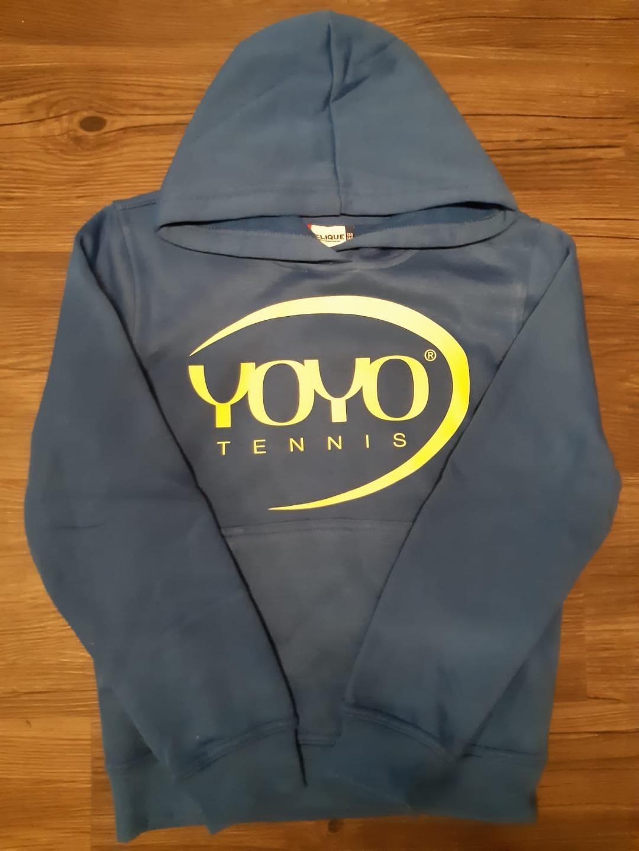 YOYO-TENNIS Hoody Blu Royal Logo Giallo Bambino 1