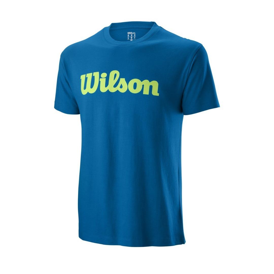 Wilson Script Cotton Tee Blu Uomo