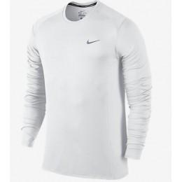 Nike Miler T-Shirt Long Sleeve Bianco Uomo