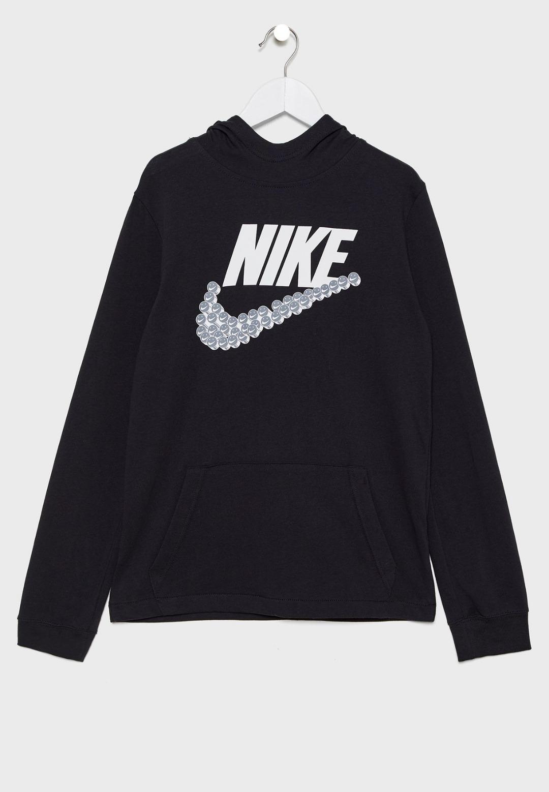 Nike Sring Smiley Swoosh Hoodie Black Bambino