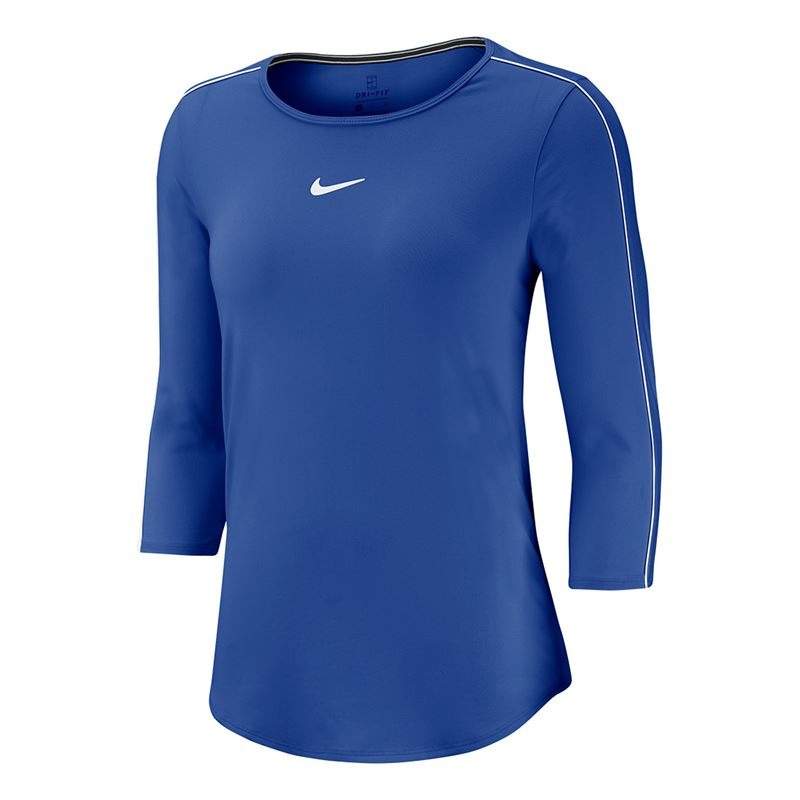 Nike Court 3/4 Sleeve Top Blu Donna