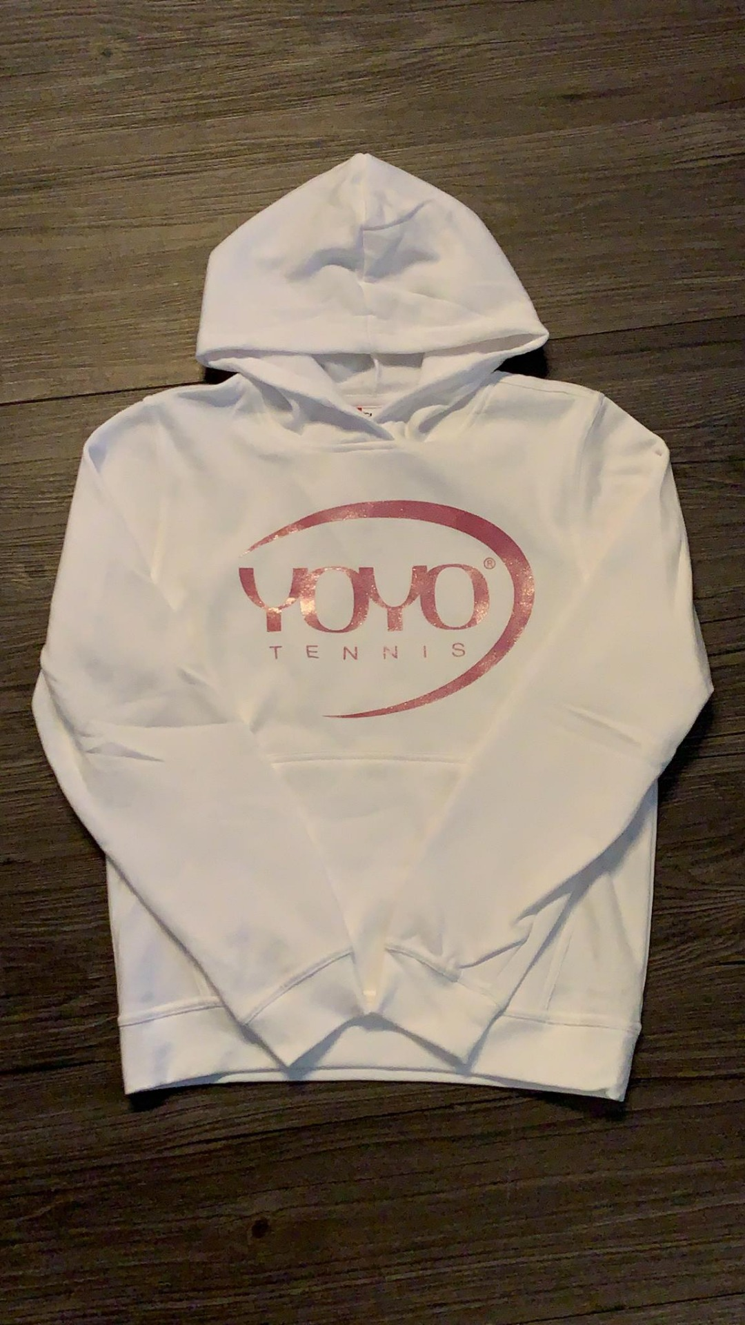 YOYO-TENNIS Hoody Bianco con Logo Rosa Brillantini Bambino