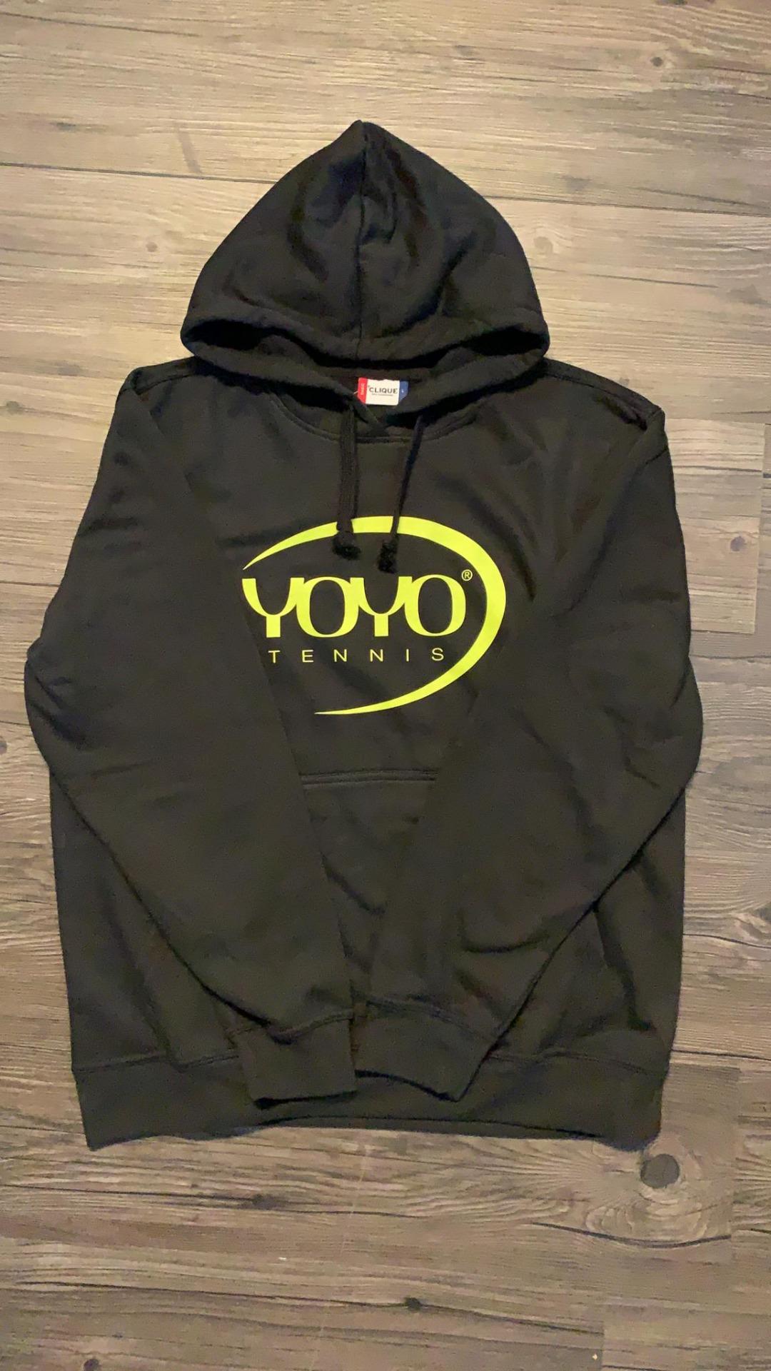 YOYO-TENNIS Hoody Nero con Logo Giallo
