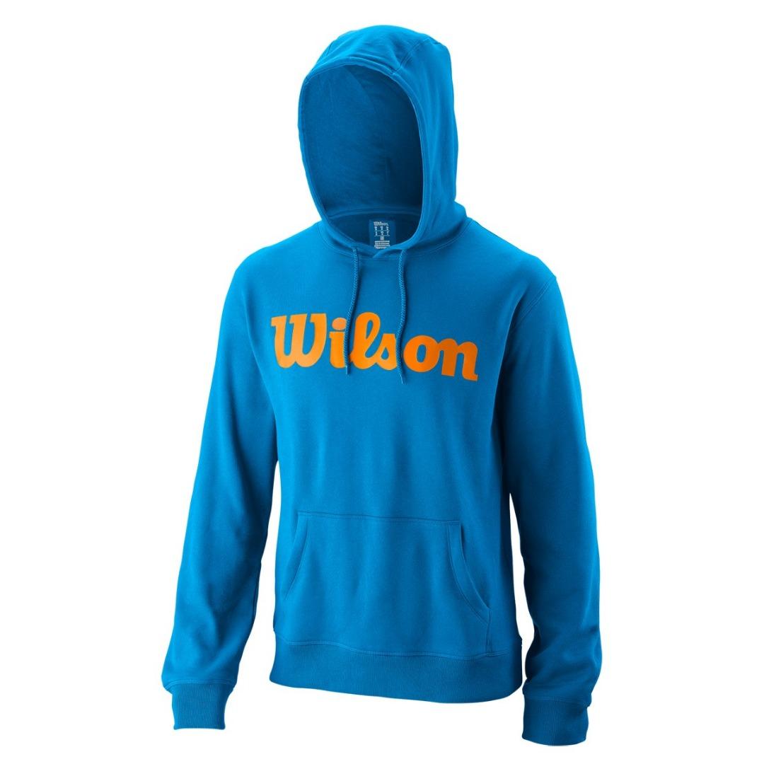 Wilson Script Cotton Po Hoody Blu e Arancione Uomo