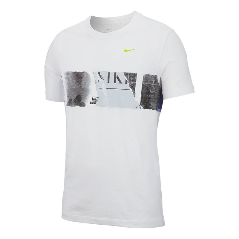 Nike T-Shirt Court Graphic Tennis Bianco Uomo