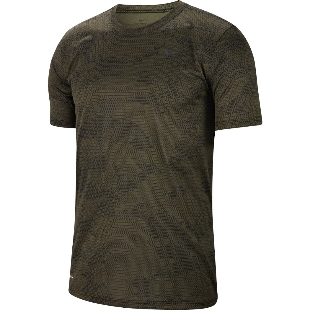 Nike T-Shirt Spring Camo Print Legend Top Verde Uomo 1