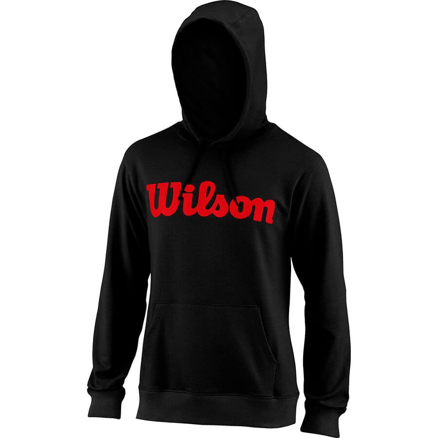 Wilson Script Cotton Po Hoody Nero Rosso Uomo 1