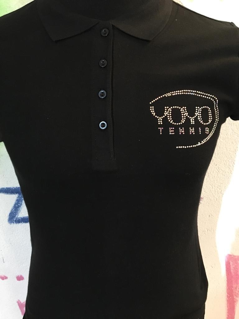 YOYO-TENNIS Polo Cotone Strass Nera Donna