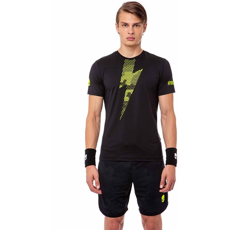 Hydrogen T-Shirt Tech Thunderbolt Tee Black Yellow Fluo