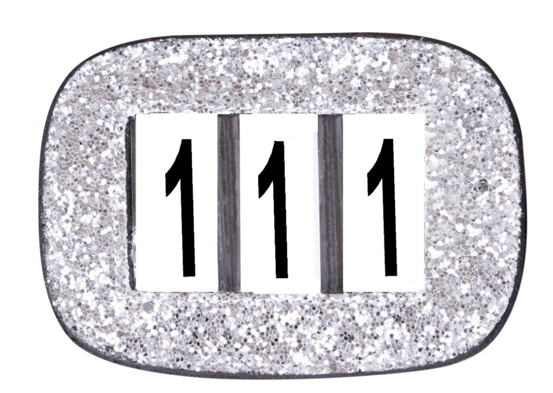 Design Numbers Holders White Glitter 1