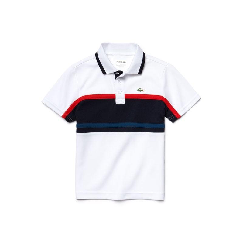 Lacoste Polo Bianco-Blu Bambino